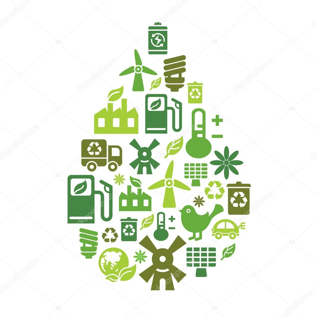 Environmental Protection Icons in Drop Shape