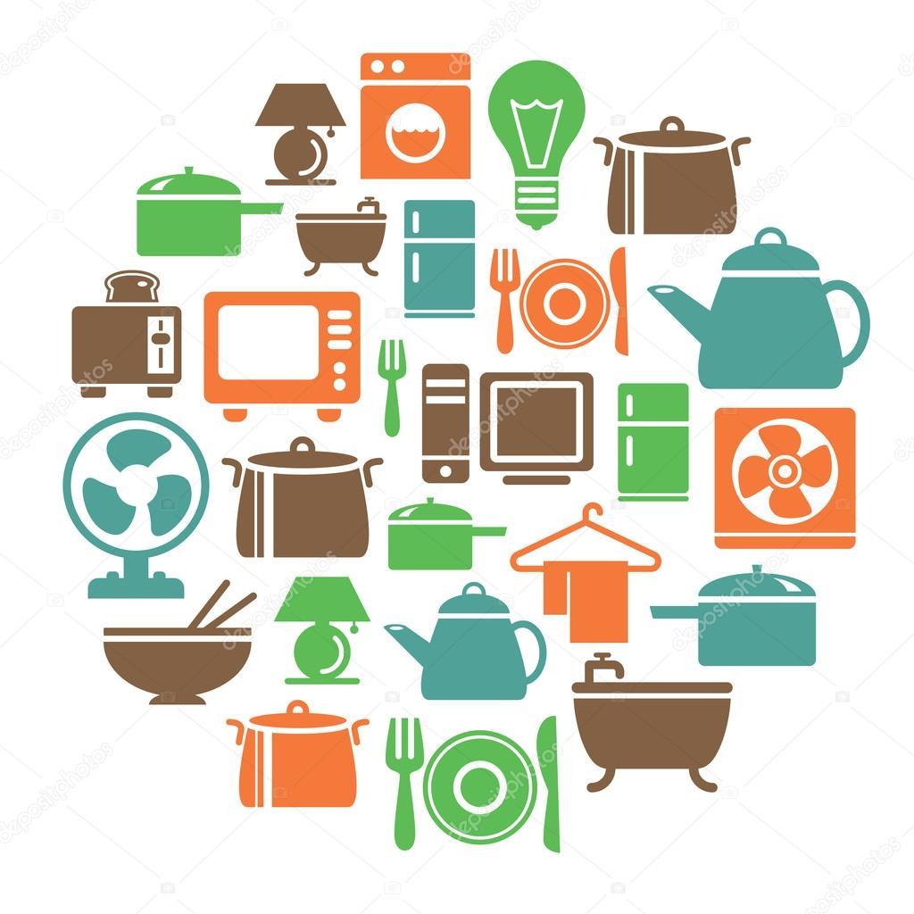 Art culos para el hogar iconos en forma de c rculo for Accesorios de hogar