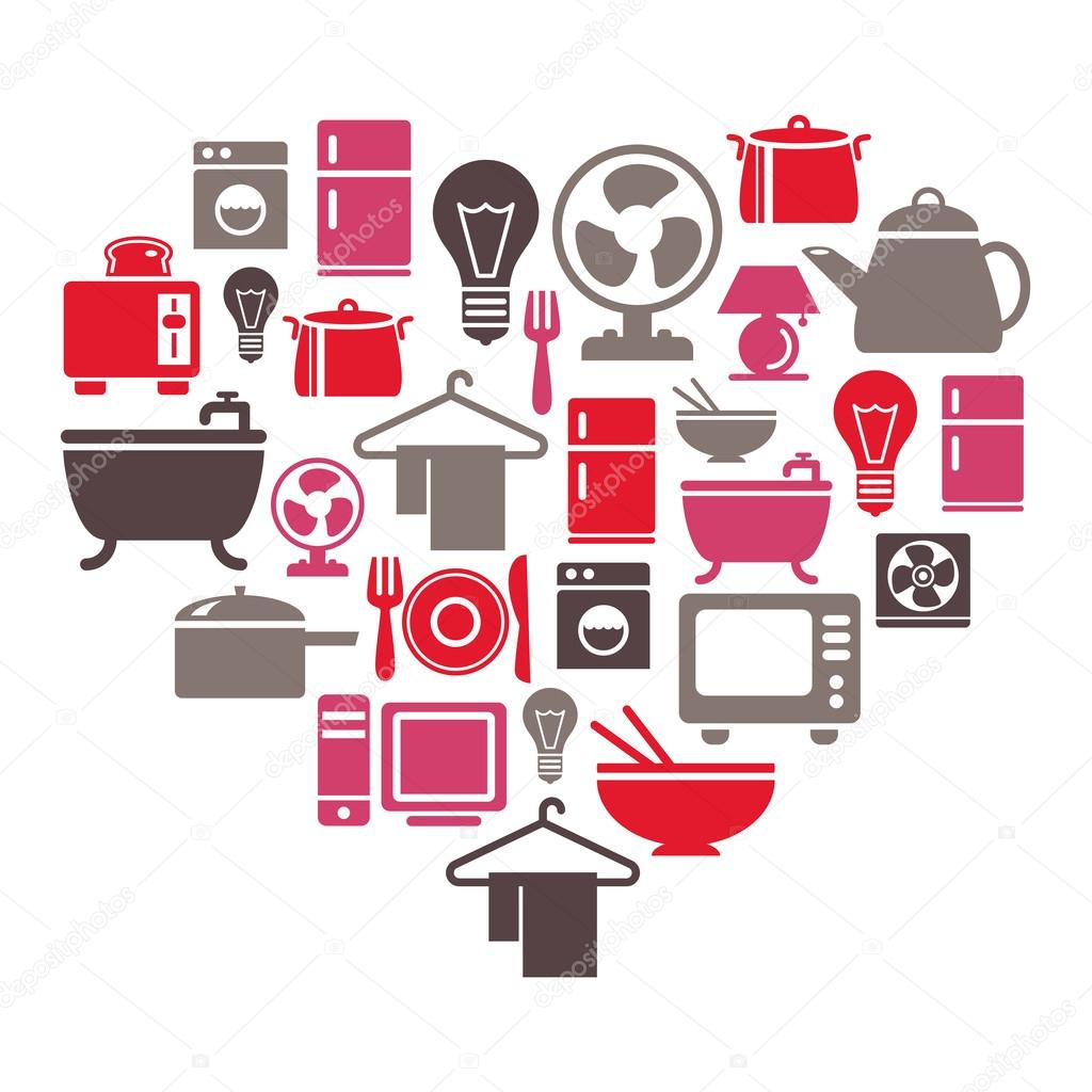 Vector articulos para el hogar art culos para el hogar iconos en forma de coraz n vector de - Articulos para decorar el hogar ...