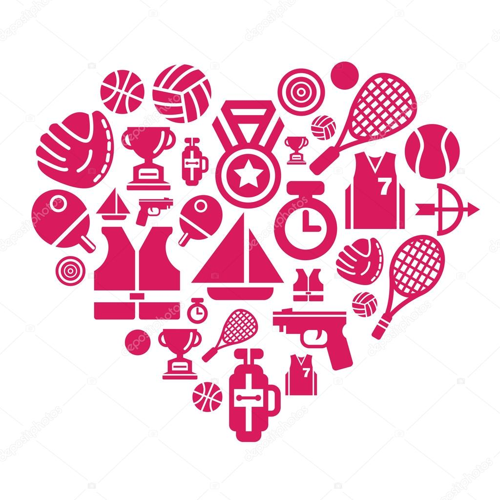 Sport Competition Icons in Heart Shape