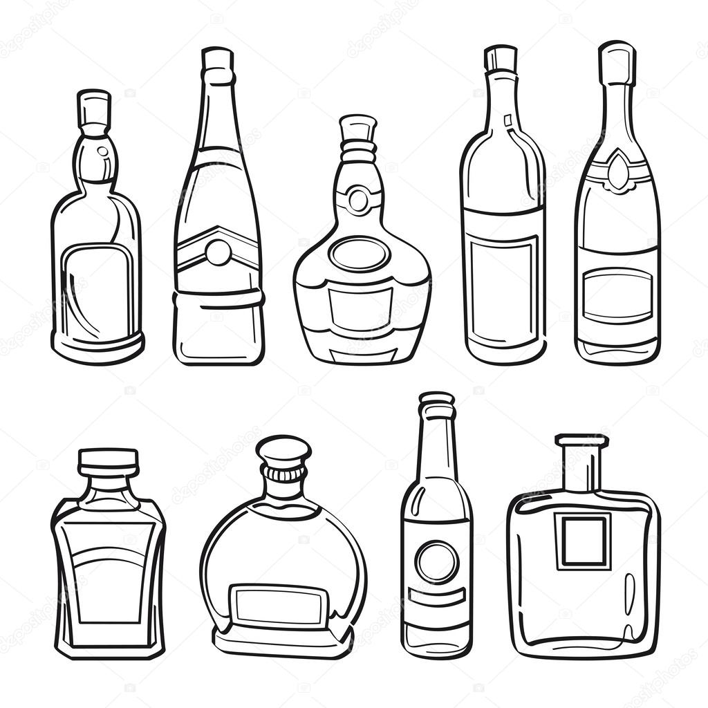 One Line Art Beer : Alcohol bottles collection — stock vector