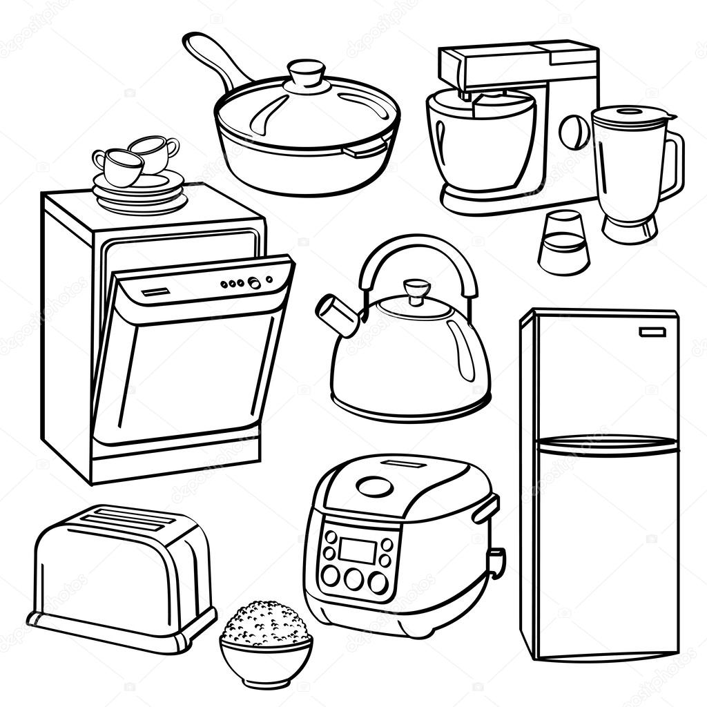 Kitchen utensils and appliances stock vector - Enseres de cocina ...