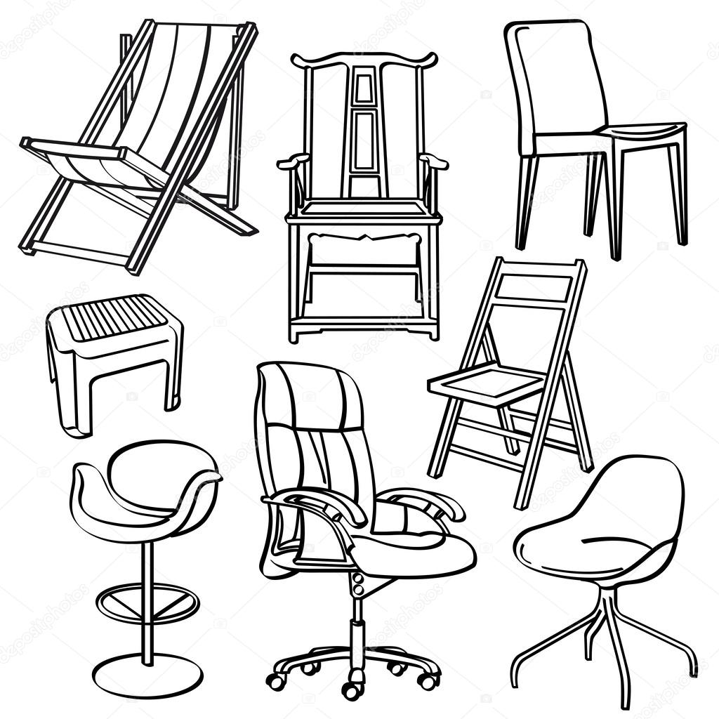 A Collection Of Different Kinds Of Chairs U2014 Vector By Godfather744431