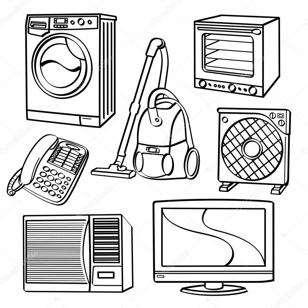 Kitchen Appliance Drawings ~ Home electric appliances — stock vector godfather