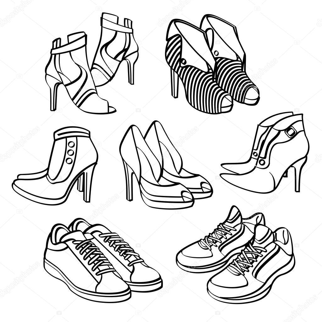 Kinderschoenen Kleurplaat 신발 컬렉션 스톡 벡터 169 Godfather744431 53150835