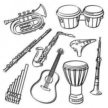 A set of sketching of music instrument isolated on a white background clip art vector