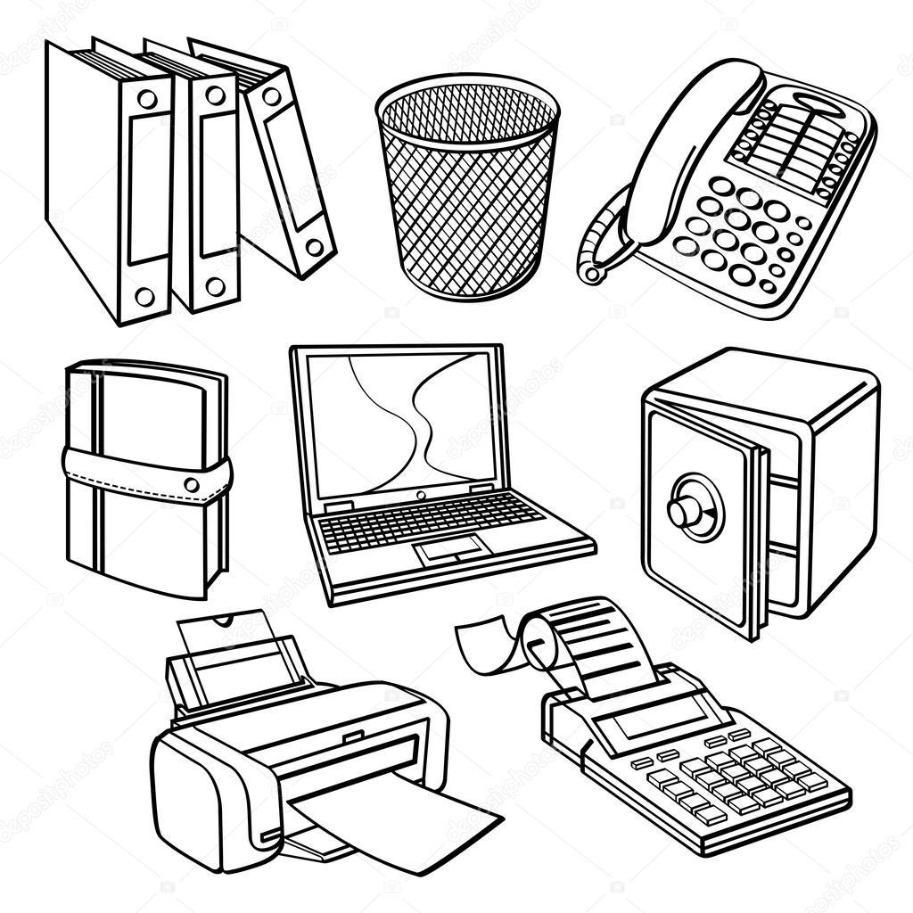Colecci n de equipos de oficina vector de stock for Dibujo de una oficina moderna