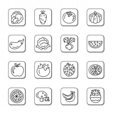 Fruit and Vegetables Doodle Icons