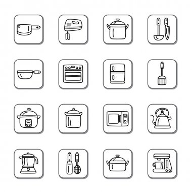 Kitchen Utensils and Appliances Doodle Icons