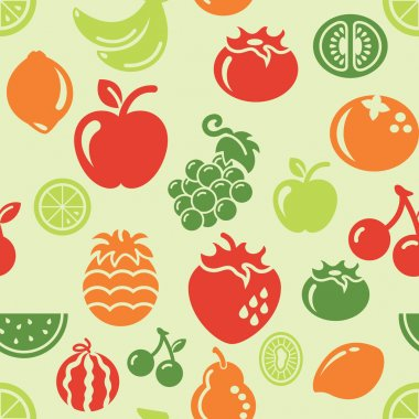 Fruit Icons in Seamless Background