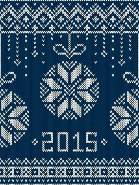New Year 2015. Winter Holiday Seamless Knitted Pattern
