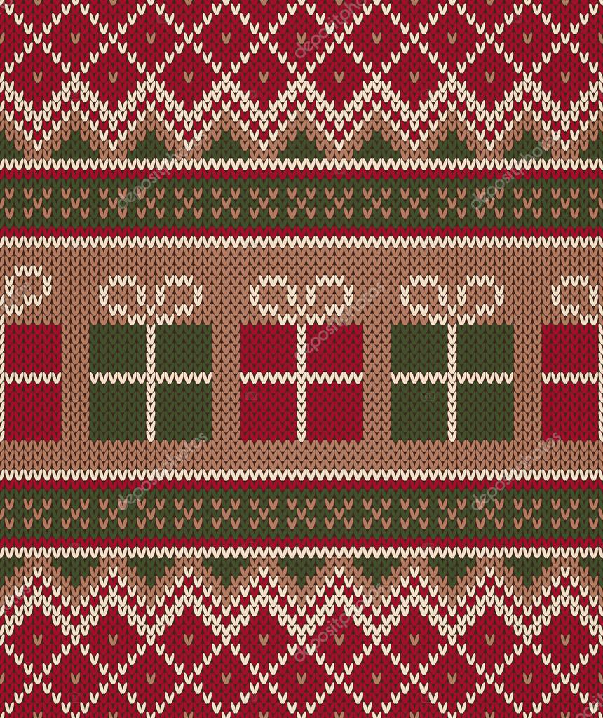 Christmas Knitting Background : Christmas sweater design seamless knitting pattern