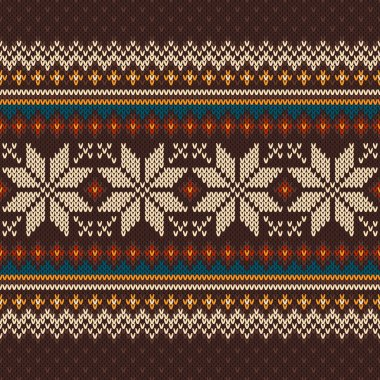 Vintage Knitted Pattern. Seamless Background