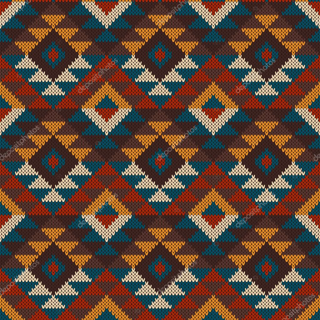 Tribal Aztec Seamless Pattern on the wool knitted texture — Stock ...