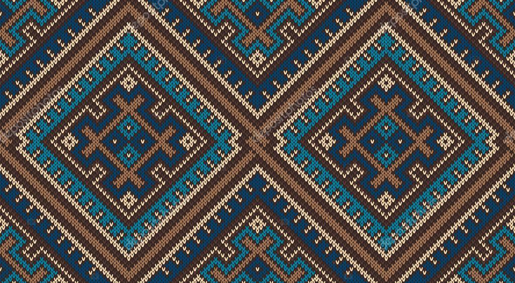 Tribal Aztec Pattern. Seamless Knitting Ornament — Stock Vector ...