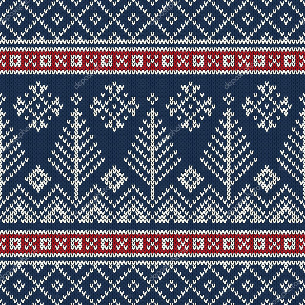 Christmas Sweater Design. Seamless Knitting Pattern — Stock Vector ...