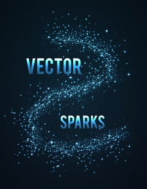 Vector blue sparks isolated on dark background with place for text stock vector