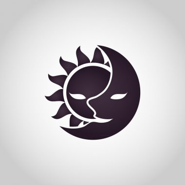 Sun and Moon logo. Abstract vector illustration