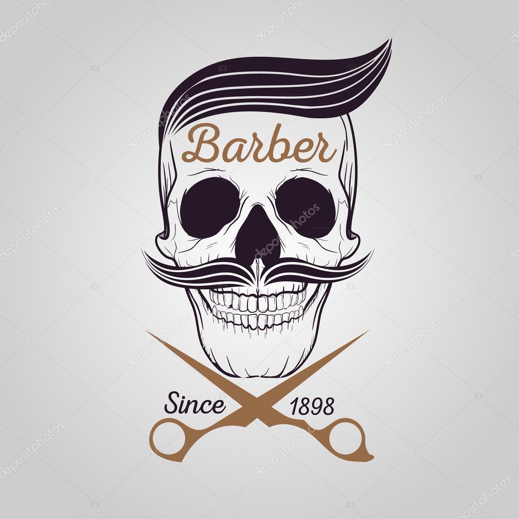 retro barber shop logo, Skull logo