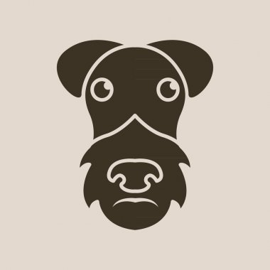 Dog airedale terrier logo