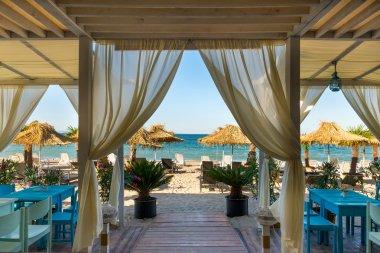 Beach summer restaurant on the Black Sea ,Burgas ,Bulgaria stock vector