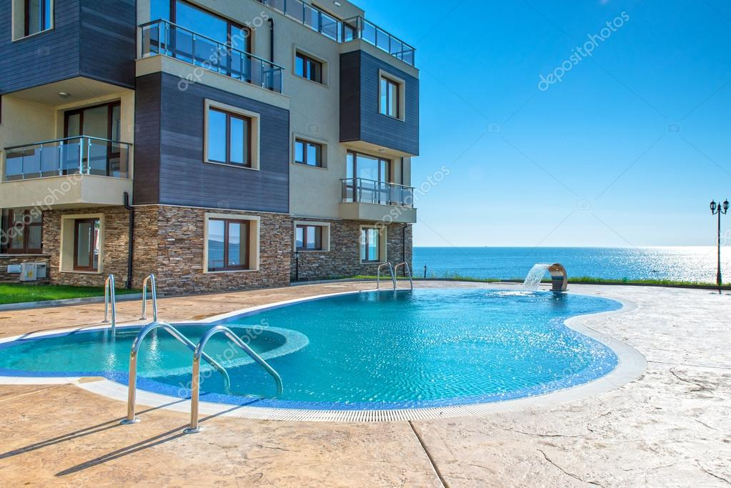 New apartment building and pool