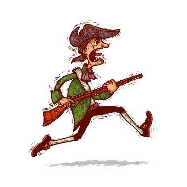 minuteman running with musket