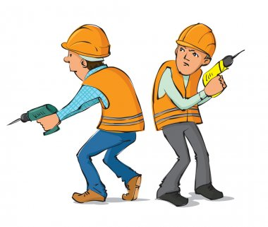 Two builders with drills