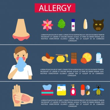 Allergy symptoms. Vector illustration. Flat design