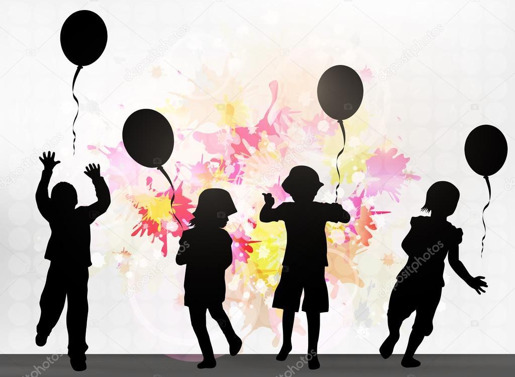 Bambini con palloncini vettoriali stock eobrazy 52103323 - Immagine con palloncini ...