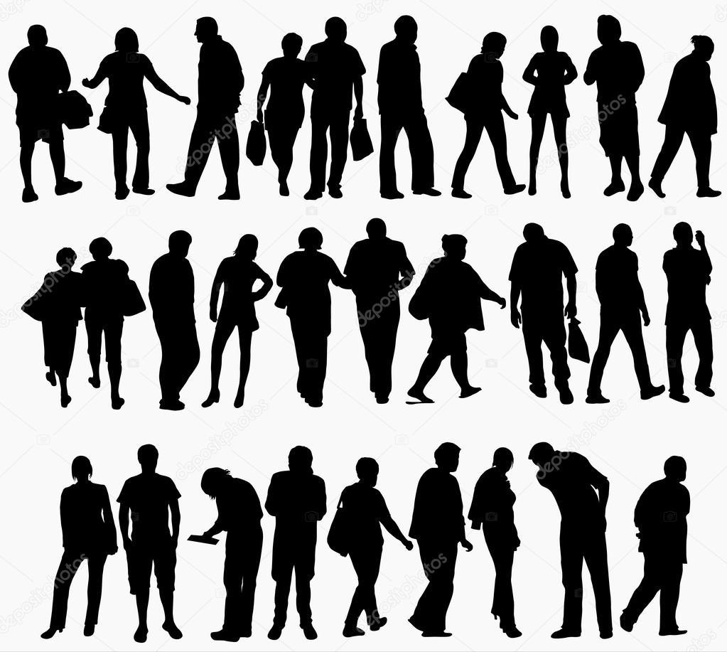 Immagini Sagome Persone.Collezione Di Sagome Di Persone Vettoriali Stock C Eobrazy