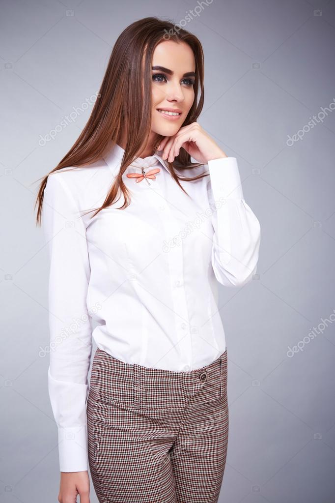Beautiful Sexy Young Business Woman Brunette Hair With Evening Make Up Wearing Casual Suit Office Style High Heeled Shoes Business Clothes For Meetings And