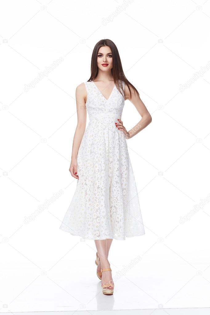 model dress white background