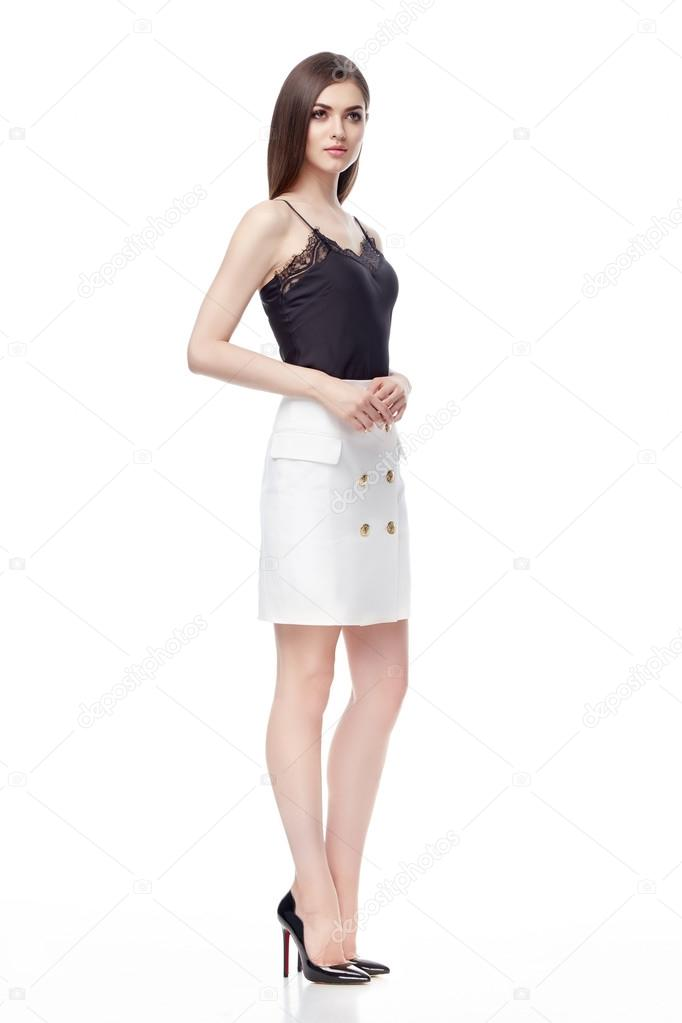 e5a4042aa06 Sexy brunette woman wear black silk blouse with lace skinny white cotton  skirt with bottom high heels lather shoes perfect body shape catalog summer  ...