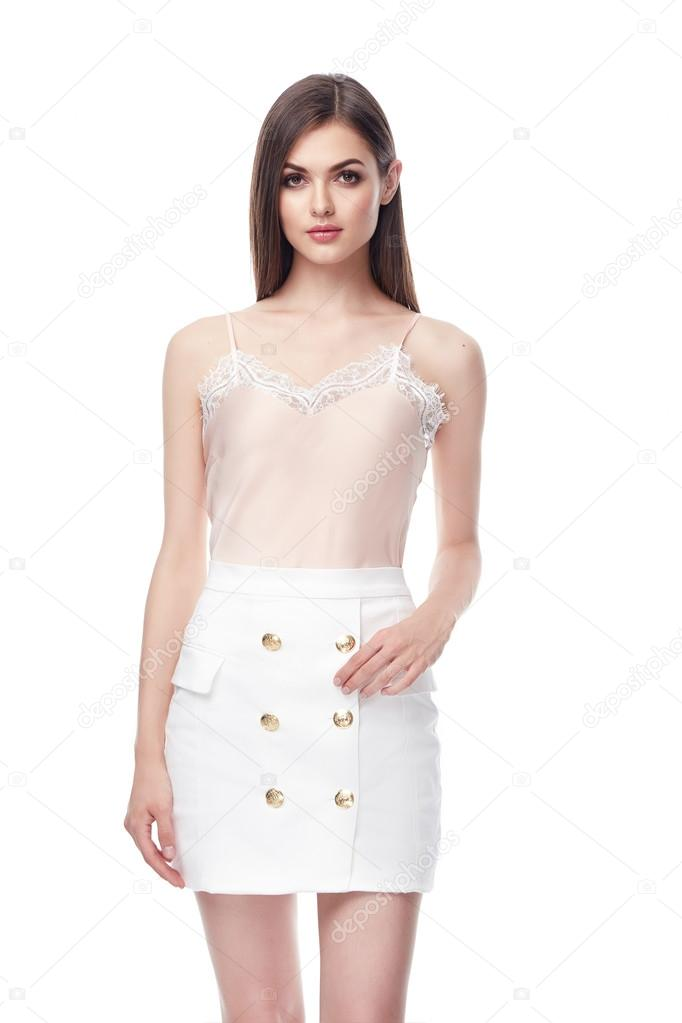 Sexy Brunette Woman Wear Beige Silk Blouse With Lace Fotos