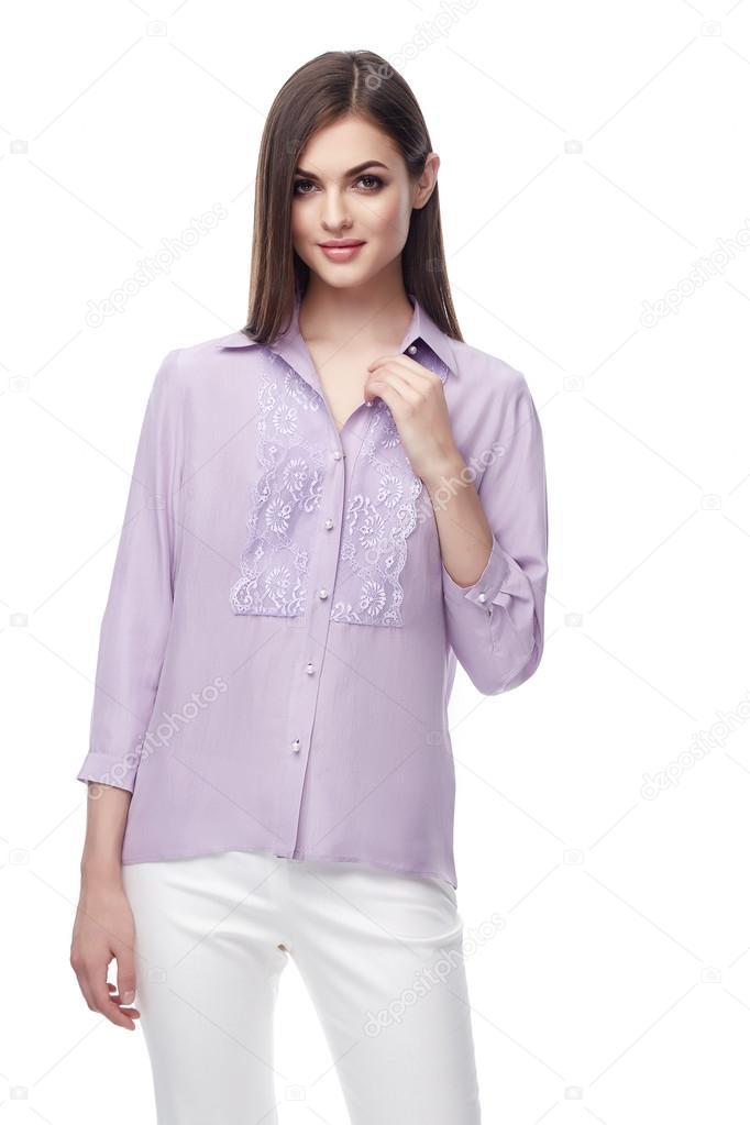 84edb6403a889 Portrait beautiful sexy woman brunette long hair wear lilac silk blouse and white  cotton pants