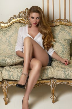 Beautiful sexy woman with long brown hair sitting on a couch