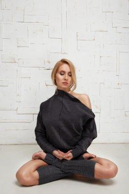 Beautiful sexy blonde perfect athletic slim figure pilates yoga