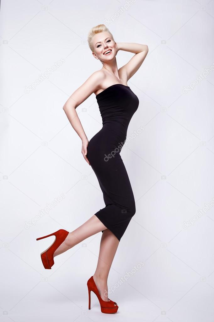 Beauty Sexy Blond Woman In Skinny Black Dress Pinup Perfect Body