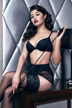 Beautiful sexy woman brunette in lace lingerie makeup body shape