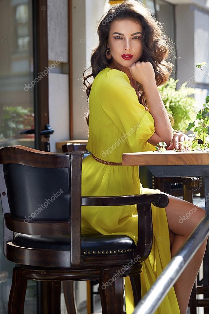 b40a4408e581 Beautiful young sexy brunette dark hair evening makeup red lipstick wearing  long silk dress perfect shape tanned body, accessories jewelry handbag  hours ...
