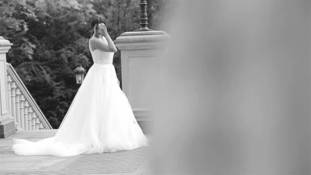 Schöne junge Frau sexy Brünette Braut in einem Luxus weiß Hochzeitskleid der Natur Schloss Sommer Glück wartet den Bräutigam vor der trauung