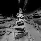 Desert Lighthouse made from a pile of rocks in a slot canyon