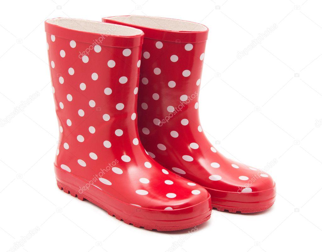 Paare Gumboots Regnen Sie Rote Stiefel Mit Den Punkten, Die