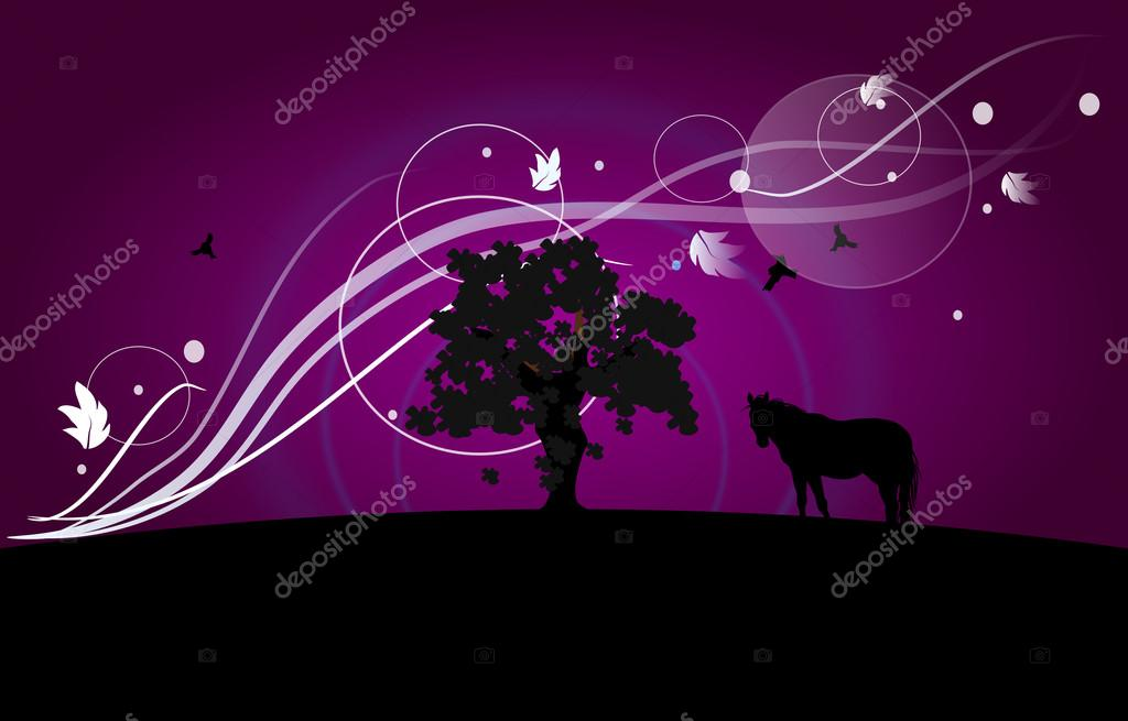 Photo Wallpaper With Horse Wallpaper With Tree And Horse Silhouette Stock Photo C Sidliks 103522690