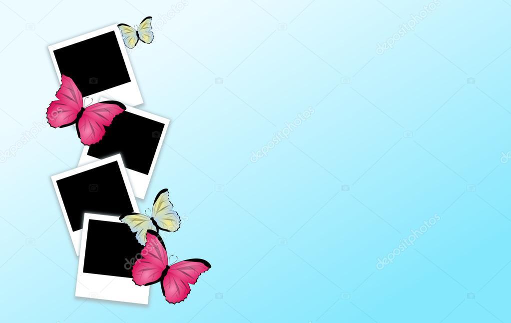 Hintergrund mit Fotografie Rahmen und Schmetterlinge — Stockfoto ...