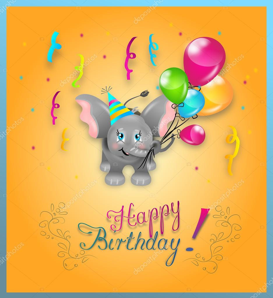 Gelukkige Verjaardag Olifant Stockfoto C Sidliks 55995513