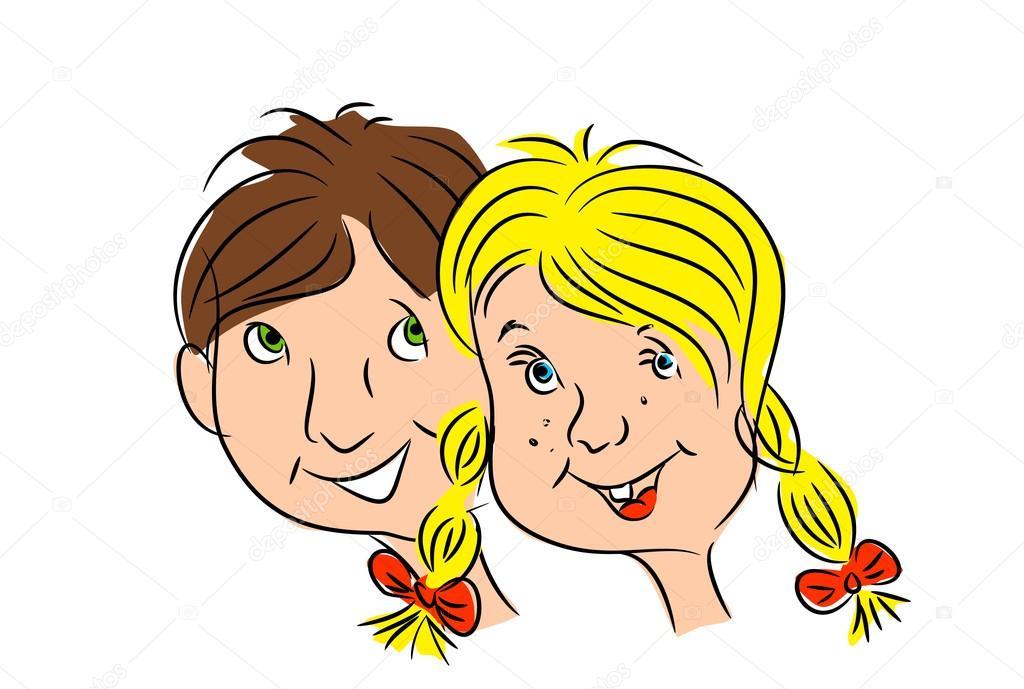 2 人の子供の頭 男の子と女の子のイラスト ストック写真 Sidliks
