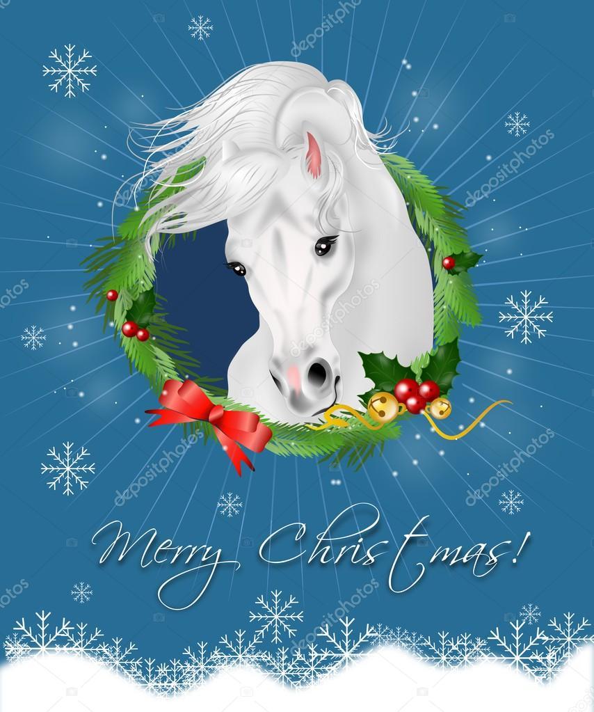 Immagini Di Natale Con Cavalli.Cartolina D Auguri Di Natale Con Il Cavallo Bianco Foto