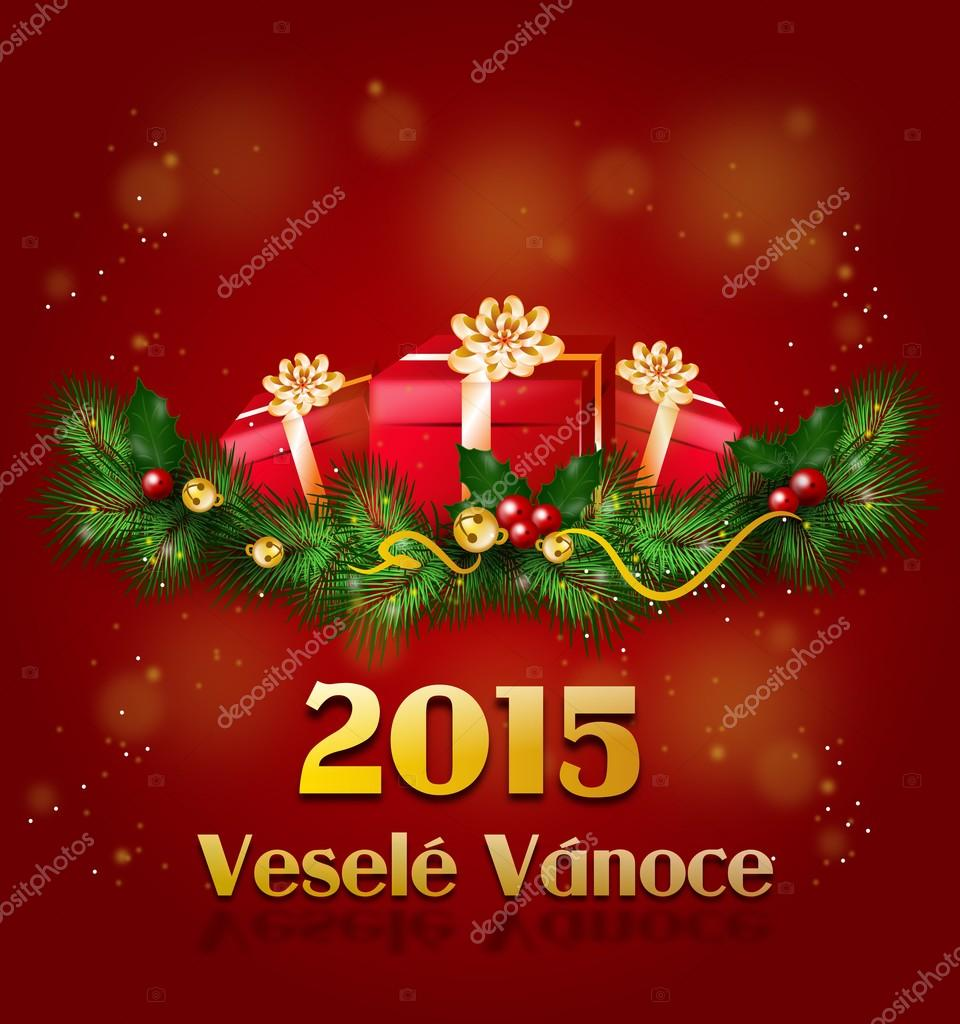 Vesele Vanoce Christmas Greeting Card In Czech Stock Photo